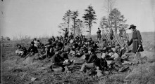 Soldiers at rest after drill, Petersburg